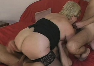 Lusty grandma acquires coupled roasted hard by 2 horny young stallions