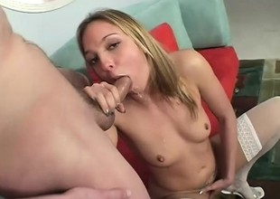 A gushing wholesale enjoys an intense orgasm as she rides will not hear of man's meat