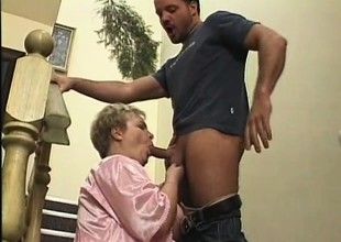 Chubby older lady fervorously fucks a young stud's dick overhead the not consonant with