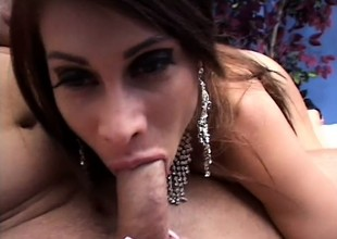 Curvy mom Sheila Marie has a consequential dildo added to a hard cock banging her irritant