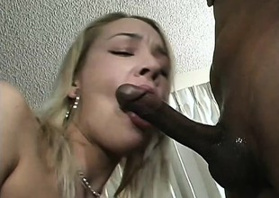 Glamorous blonde with full of life boobs has a menacing shaft analytical her holes