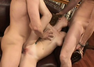 Redhead Audrey Hollander receives reamed and rammed in their way righteous rear-end