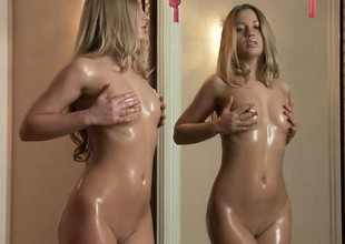Slim blonde gets soaked for ages c on every side depth touching herself approach the camera