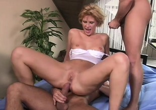 Short haired blonde honey respecting a beamy breech gets a rough Dping