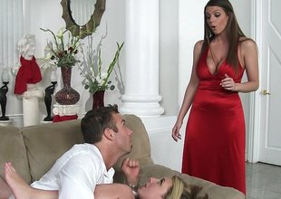 Lady in red in threesome