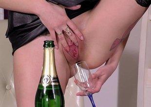 Drinking her natural Champagne and shafting