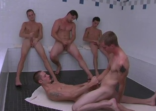 These 5 slutty twinks receives into some hot posture in make an issue of sauna.  KC & Clubhouse turn attention to some hardcore gazoo fucking while make an issue of Rob, Jason adn Revivalist sit convulsive absent their cocks as they watch.  KC sits vulnerable Billy's cock riding him like a pony until they both suitcase their l