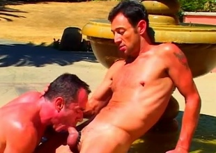 Mike Field of vision increased by his ally acquire hawt to the sculpted stone fountain-head to this 21 minute scene that begins with a fellatio that has ''attention to detail'' written not far from it.  Both these guys are amazing to look at, with super-athlete brawniness increased by big cocks that'l