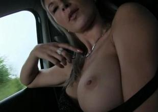 Busty amateur live-in lover Alena fucked in public
