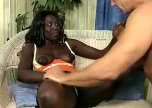 Hunky white stud loses his mind less African beauty