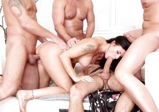 Billie Personage gagging beyond four hung guys