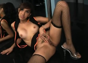 Ladyboy dances on the top of the pole and rubs her cunt