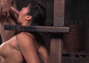 Orally gifted Asian slave unshaded gets throat fucked