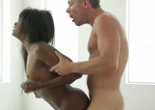 Black hottie on the brush hands and knees for white dick