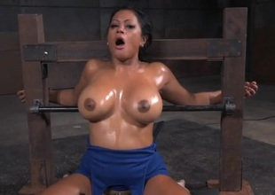 Romp slut with big oiled titties opens for his cock