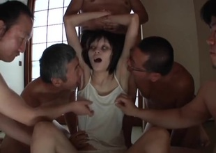 Skinny Japanese zombie licked coupled with caressed hard by guys