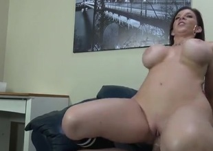 Curvy milf Sara Jay sits hither on a acted upon learn of