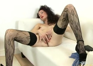 Elegant unshaved hair milf is awesome in stockings