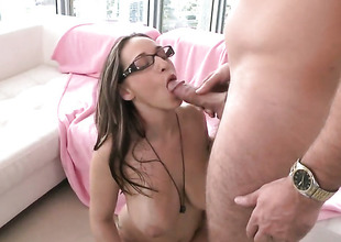 Brunette Jasmin with giant breasts receives the brush cunt disciplined