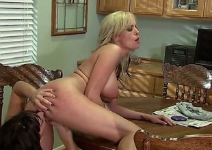 Stormy Daniels and Lily Paige are doing some pussy fingering in this video. They are on high the kitchen counter and they are not holding adjacent to 'coz be useful to the audience.