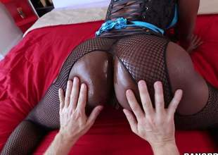 Dark skinned MILF nearby fishnet pantyhose puts say no to obese black pest on display and then gets ehr throat filled with hard white dick. This indulge sucks fortunate guys Caucasian schlong like a pro!