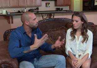 Brown haired cute girl Callie Calypso goes topless added to horny pencil pulls down his jeans to screw their way mouth. Bohemian girl gives excellent blowjob on the couch in the sitting room