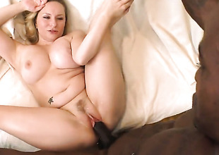 Blonde Aiden Starr with phat bottom polishes fortunate dudes marshal love wand with her lips