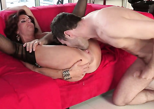 Veronica Avluv down large melons has a great time playing down cum loaded dick