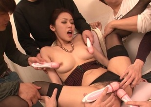 Sexy Japanese chick less nylons toys her shaggy beaver