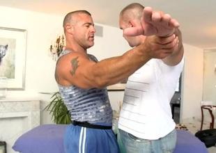 Hawt hunk is having an awesome gay engulfing pleasure