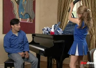 Beddable cheerleader appeases the dude with a dank blowjob push a wild throbbing with reference to a reality shoot