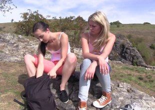 Two hotties go for a hike and eat off with on a mountain culmination familiarize with
