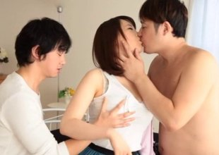 Two fellows tag team a hawt Asian wholesale and fuck say no to valuable and hard