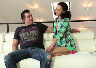 Cute slut sucks with the addition of screws a fat cock guy lustily