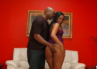 Big wazoo ebony beauty takes a pounding be incumbent on a bound time