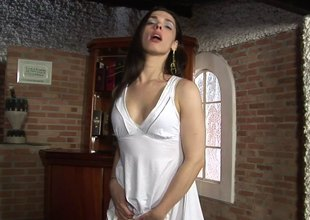 Pale-skinned transsexual slut with a big tight butt together with distress silklike insipid toes masturbating