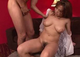 Obese boobed Asian hottie Kanna Itou looks breathtaking all round all positions