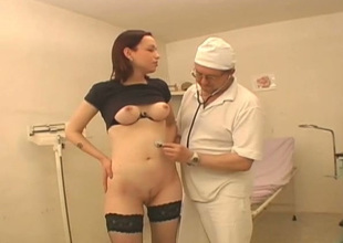 Kinky doctor examines hairless pussy of three young chick Vika enervating hawt stockings