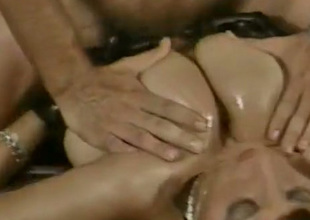 Contagious Circe with massive juggs lets her lover teat fuck her