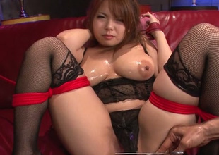 Impressively hot Japanese lady Kanna Itou wanna resign oneself to love tunnel fucked in the air toy