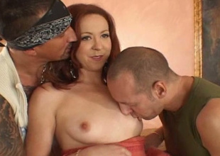 Redheaded trollop gets several cocks to satisfy her sexual hunger