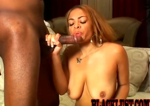 Ebony babe riding a beefy black cock doggsytyle in of cattle up video