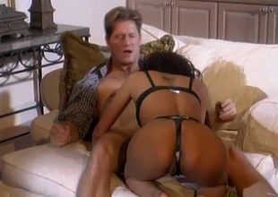 Stop-and-go cowgirl in nylon stockings with the addition of a thong shouting as she gets hammered hardcore