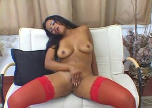 Latina sweetheart Gabriella Asstryd plays with will not hear of muddy pussy