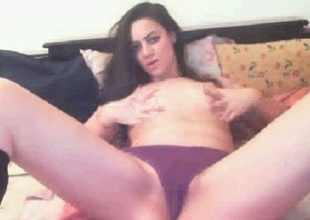 Gorgeous dark brown in knee-socks enjoys playing with say no to pussy