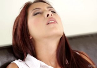 Loved redhead has her shaved pussy creampied in a soaked close up carrier bag