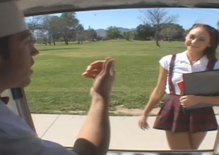 Anorexic university girl in uniform gets enticed earn the back of a substitute for and drilled hardcore