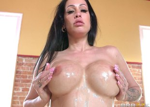 Big tits dour drains his big cock of cum after being fucked hard