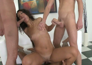 Dispirited brunette see red trollop Alex C acquires fucked hard overwrought three hot dudes