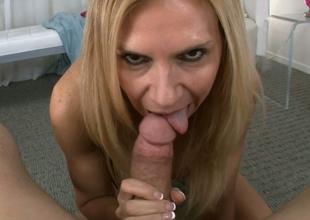 Desirable blond mommy Brooke Tyler blows hard pecker of Jack H